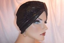 "Fancy Metallic Gold &  Black  Chemo Turban  ""Something4you"" Alopecia Hijab"