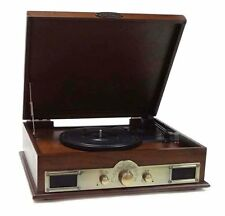 New Pyle PTT30WD Bluetooth Turntable USB Recording With CD/MP3 AM/FM Brown Wood
