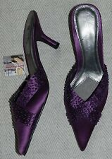 Next Sole Reviver Purple Beaded Pointed Toe Kitten Heel Mule Shoes - Size 5