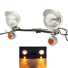 Driving Passing Lights Turn Signals Black Light Bar Set Fit Honda Cruisers
