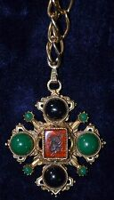 Florenza Vintage Maltese Cross Necklace Pendant Black and Green Cabachons Cameo