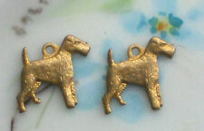 #1381F Wired Hair Fox Terrier Vintage Dog Charm Pendant Dogs Antique Brass Ox