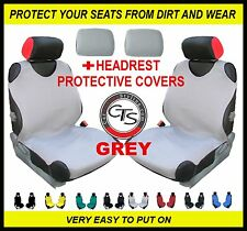 CAR FRONT SEAT COVERS PAIR + HEADREST GREY BMW SERIES 5 E28 E34 E39 E60 E61