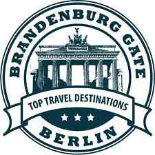 "Berlin Travel Germany Stamp Bumper Sticker 5"" x 5"""