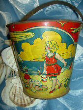 RARE 1920s Victorian USA litho sand pail toy with blimp, zeppelin, derrigible +