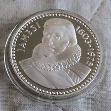 James I 1566 - 1625 32mm caracteriza medalla de plata prueba