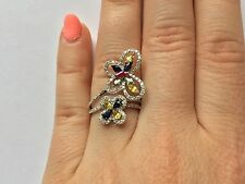 18K WHITE GOLD RUBY BLUE GREEN YELLOW SAPPHIRE BUTTERFLY BYPASS DIAMOND RING