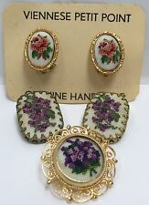 Lot of 3 Vintage Handmade PETIT POINT NEEDLEPOINT Jewelry Brooch Clip Earrings