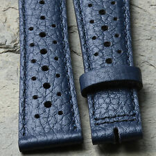 Blue 20mm nicely textured Swiss vintage watch leather rally band NOS 1960/70s