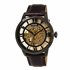 Fossil ME3098 Gent's Automatic Gold Skeleton Dial Brown Band Watch
