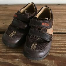 Ecco Toddler Shoes Sneakers Brown Boys First Velcro Size 23
