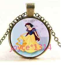 Vintage Snow White Cabochon Bronze Glass Chain Pendant Necklace #3527