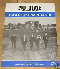 DAVE DEE DOZY BEAKY MICK TICH ~ NO TIME ~ UK VINTAGE SONG SHEET MUSIC SHEET 1964