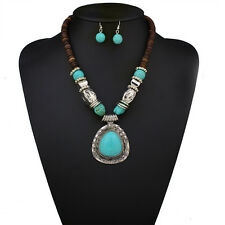New Tibet Silver Blue Turquoise Stone Pendant Water Drop Necklace Earrings Set