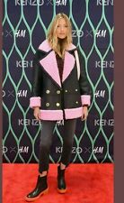 Kenzo x H&M Pink Pile Lined Leather Coat Jacket Oversize Size XS S M BNWT