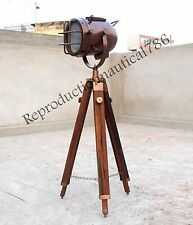 Nautical Copper Antique Floor Lamp With Wooden Tripod Vintage Style Searchlight