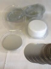 BULK PRICE 20 x CLEAR DISPOSABLE CAKE DOMES boxes PLUS 8 inch silver cake cards