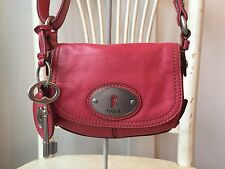 FOSSIL MADDOX Small Dusty Rose Genuine Leather Flap Crossbody Shoulder Swing Bag