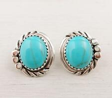 Native American Navajo Delores Cadman Sterling Silver Turquoise Post Earrings
