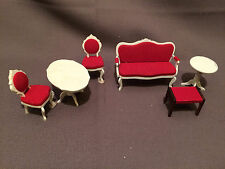 Vintage Lundby Dollhouse Furniture Couch/Sofa, 2 Tables,2 Chairs and Bench
