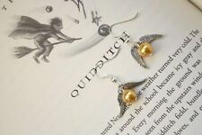 Fashion Harry Potter Hogwarts Quidditch Golden Snitch Earrings 925 Silver hook
