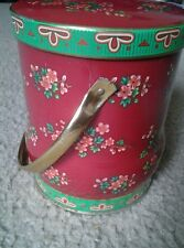 Vintage The Box Company by DAHER ~made i n England ~ Red Floral Biscuit/Tea Tin