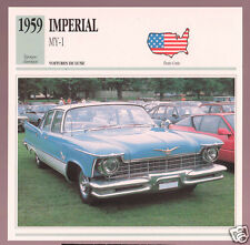 1959 Imperial MY-1 MY1 Chrysler Car Photo Spec Sheet Info Stat French Atlas Card