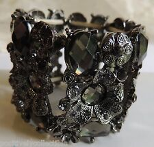 Stunning Amethyst Faceted Crystals In Antiqued Silver Floral Stretch Bracelet SM