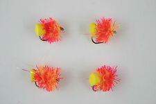 X4 Sunburst Red Two Tone Blob FAB - Mini Lure, Fly Sze 6, Trout Fishing Flies.