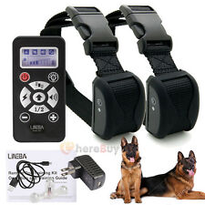 800 Yard Range Rechargeable LCD Vibrate Shock Control 2 Pet Dog Training Collar