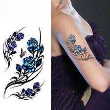 Rose Butterfly Sexy Tattoo Sticker Waterproof Elegant Body Art Sticker