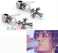 Korean TOHOSHINKI DBSK TVXQ Hero Skull Cross Earrings antique finish Jejung KPOP