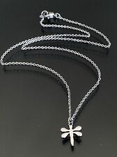 "Tiny Stainless Steel Dragonfly Charm Pendant Necklace on 15"" Choker Length Chain"