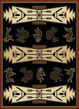 """Black 5x8 Navajo Southwestern Indian Arrows Area Rug: Actual Size 5' 3"""" x 7' 2"""""""