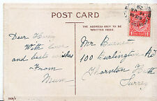 Genealogy Postcard - Family History - Burnett - Thornton Heath - Surrey  U3667
