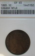 1885 Newfoundland Large Cent Coin. KEY DATE ANACS EF-45