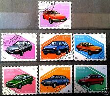 Laos stamp old Cars 1987  FULL  SET  USED Datsun, Ford ,Toyota ,Vauxhall
