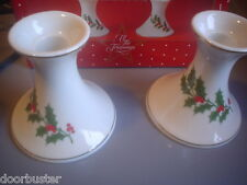 WHITE GOLD TRIM HOLLY CANDLE HOLDERS ALL THE TRIMMINGS MACYS SET OF 2 CHRISTMAS