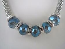 Kenneth Cole silver tone~blue crystal necklace, NWT