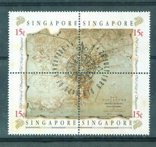 S'pore  Old map of S'prre 15c block of 4 26.7.1989 mint