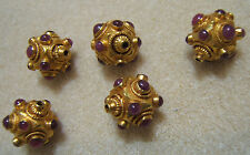 18+k Gold and Ruby India Beads New High Karat