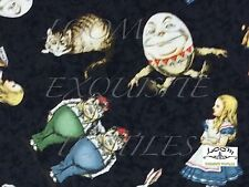 RPG327E  Alice In Wonderland  Mad Hatter Rabbit Cat Humpty Cotton Quilt Fabric