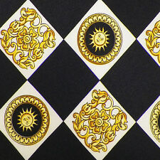 V2 by VERSACE Black Yellow Gold Ivory SUNS ACANTHUS CHECK Silk Tie EUC