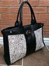 FOSSIL BLACK & WHITE CALF HAIR & LEATHER VRI WEEKENDER 3 BAG RETAIL £239