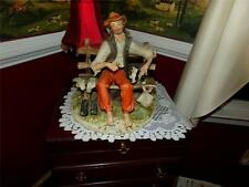 VINTAGE CAPODIMONTE HOBO SITTIN ON A BENCH WITH HIS DOG BY MANEGHATTI