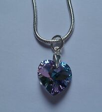 STERLING SILVER PLATED NECKLACE 14MM VITRAIL LIGHT AB SWAROVSKI CRYSTAL HEART