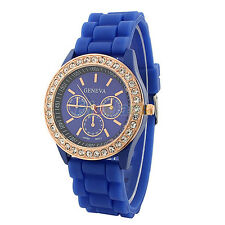 Ladies Women Girl Geneva Silicone Quartz Golden Crystal Stone Jelly Wrist Watch