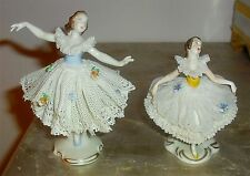 2 Fabulous Vintage VOLKSTEDT Germany Lace Ballet Ballerina Figurines Figures