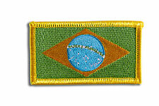 Brazil Flag Embroidered Woven Iron On/ Sew On Badge Patch 8x4.5cm