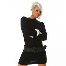 Sexy Kleid Minikleid Longpullover Pulli  Pullover mit Struktur Schwarz 34 36 38